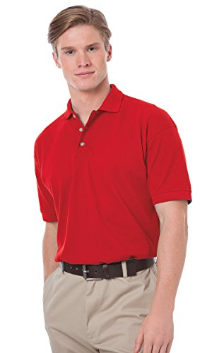 Blue Generation BG2201 Short Sleeve Cotton Polos-Polo Shirts (XL, Red)