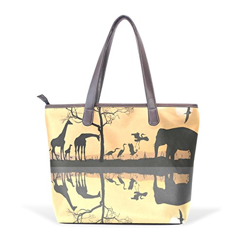 Giraffe Hobo Handbag - Dragon Sword Savana Giraffes Herons And Elephant Women Handbags Hobo Shoulder Bags Tote PU Leather Handbags Fashion Bags
