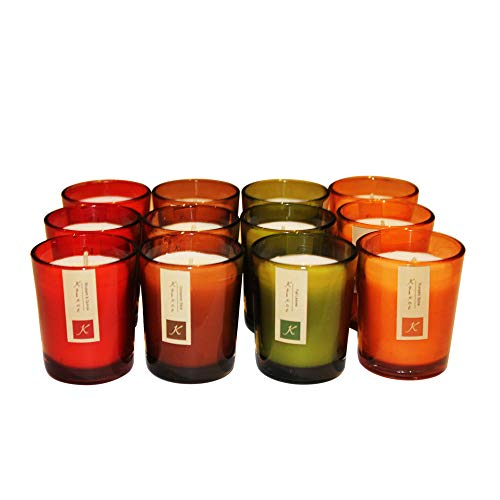 KRIXOT Assorted Set of 12 Colored Glass Votives in 4 Fragrances | Pumpkin Spice, Fall Leaves, Cinnamon Sticks and Rhubarb Raspberry | Break Proof Packaging | Burn Time Upto 15 Hrs - Fall Wedding Favors