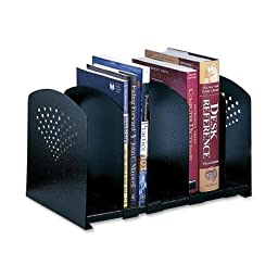 Safco 5 Section Adjustable Book Rack - 9.25quot; x 15.5quot; x 9quot; - Steel - Black