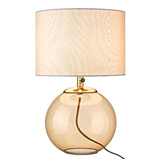 """Glass Table Lamp, LMS 23.2"""" Tall Modern Glass Desk Lamp, Clear Light Gold Body with White Linen Drum Shade, LMS-047"""