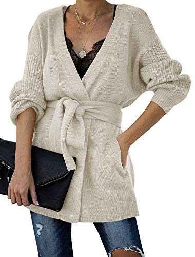 Auburet Womens Wrap Tie Waist Open Front Cardigan Sweater Lightweight Oversized Batwing Sleeve Knitted Coat with Pockets Beige