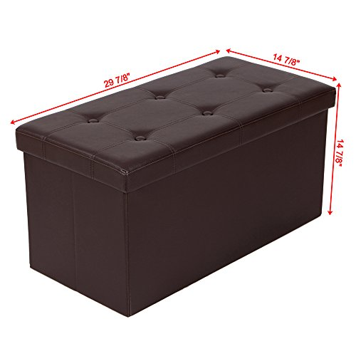 Kids Collapsible Ottoman Toy Books Box Storage Seat Chest: SONGMICS Folding Storage Ottoman Coffee Table Foot Rest