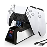 DLseego PS5 Controller Charger Compatible for Playstation 5 Controller, Newest Version USB Charger Charging Docking Station Stand -Black (Color: Black)