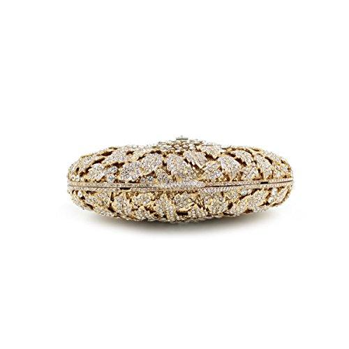 De Las Mujeres Paquete De Noche De La Moda De Lujo De Diamantes Bolso Nupcial Gold