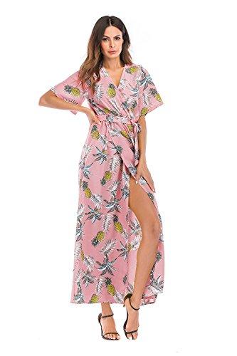 Damen V Ausschnitt Blumenmuster Sommerkleid Elegant Cocktailkleid ...