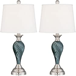 Arden Green-Blue Glass Twist Column Table Lamp Set of 2