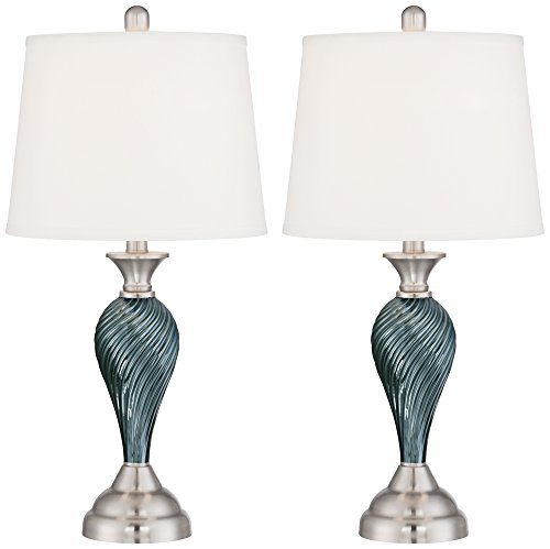 Accent Column Table (Arden Green-Blue Glass Twist Column Table Lamp Set of 2)