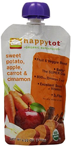 Happy Tot Organic Superfoods Stage 4, Apples, Sweet Potato, Carrots & Cinnamon + Super Chia, 4.22 OZ Baby Food Pouches (Pack of 2)