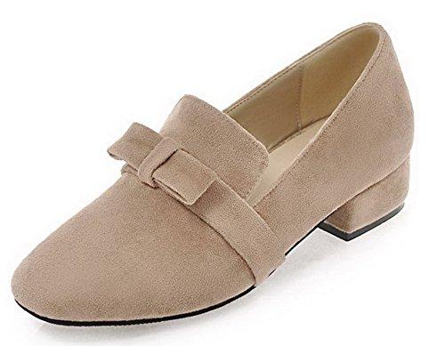 aus Beige Absatz Damen und 43 Odomolor Absatz festem Pull Mattleder mit On Schuhe tiefem wnWFAfxq1B