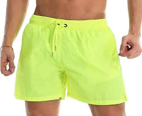 1744e5547e Cromoncent Men Athletic Quick Dry Elastic-Waist Swim Trunks Swim Shorts