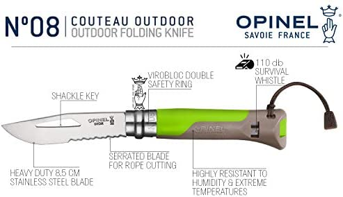 Opinel No.8 Outdoor – Stainless Steel Knife and Survival Tool