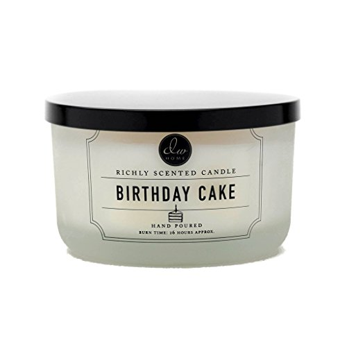 - DW Home Decoware Richly Scented Candle 12.82 oz. in Glass Jar Large triple Wick --- Birthday Cake