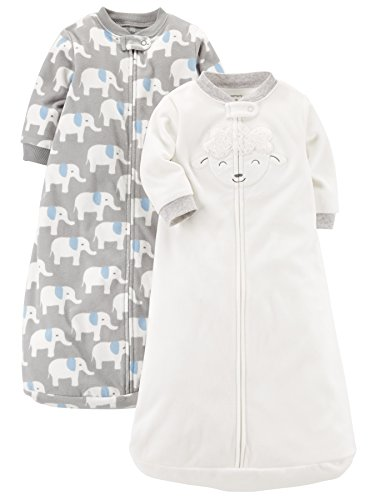 Carter's Baby 2-Pack Microfleece Sleepbag, Ivory Lamb/Grey Elephant, Medium
