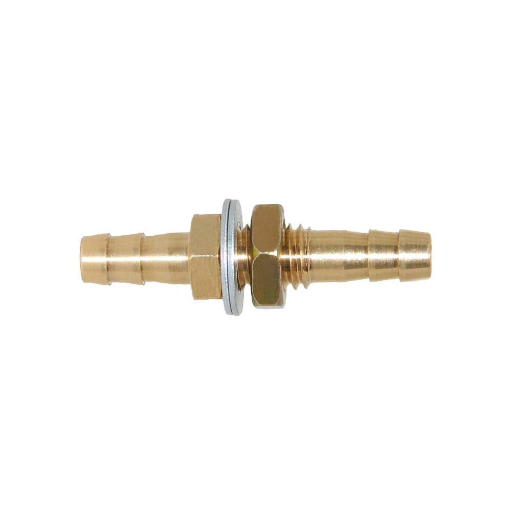 Joywayus 3//8ID Hose Barb Thru-Bulk Head Fuel Hex Union Fitting Intersection//Split Brass Water//Fuel//Air