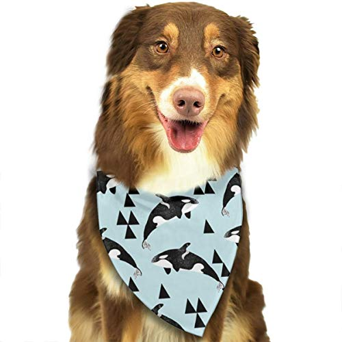 ZZJIAK Dog Bandana Scarf Orca Whale Ocean Pastel Blue Triangle Bibs Printing Kerchief Set Accessories Dogs Cats Pets -