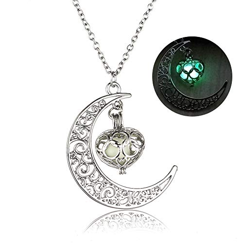 Onairmall Glow in the Dark Moon Love Heart Pendant Necklace Luminous Series Fluorescent Necklace (Green)
