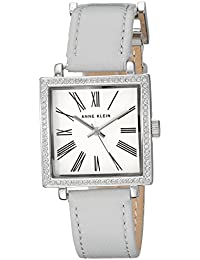 Womens AK/2939SVLG Swarovski Crystal Accented Silver-Tone and Light Grey Leather Strap Watch