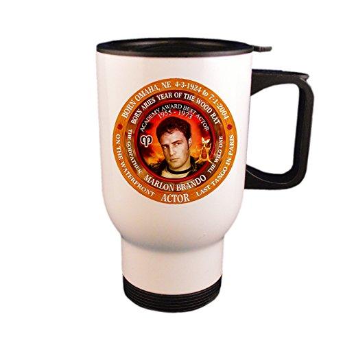 Marlon Brando Actor Travel Mug/Cup Astrology Aries, Zodiac Year of Wood Mouse