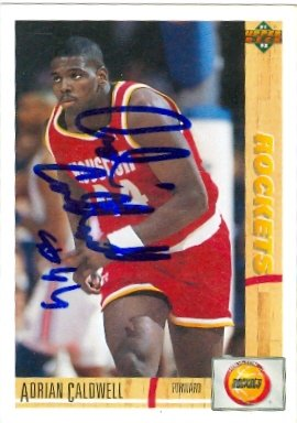 Autograph Warehouse 46188 Adrian Caldwell Autographed Basketball Card Houston Rockets 1991 Upper Deck No .310
