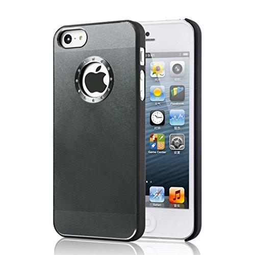 Di buona qualità Iphone 5 / 5S qualità cassa del diamante in alluminio bling copertura con il lato nero Rim per iphone 5 / 5S Simple Black brushed