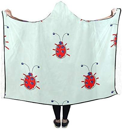 Rtosd Couverture à Capuchon Couverture de Main Mignonne Insecte 60x50 Pouces Wrap à Capuche Comfotable