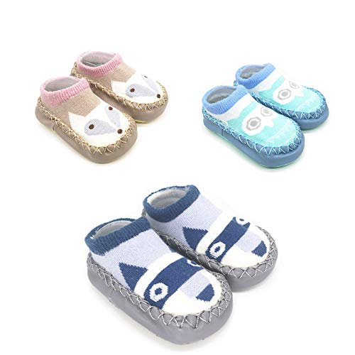 PanGa 3 Pairs Slippers Socks for Unisex Baby Soft Sole Anti-Slip Cotton Toddler First Walkers Crib Floor Shoes