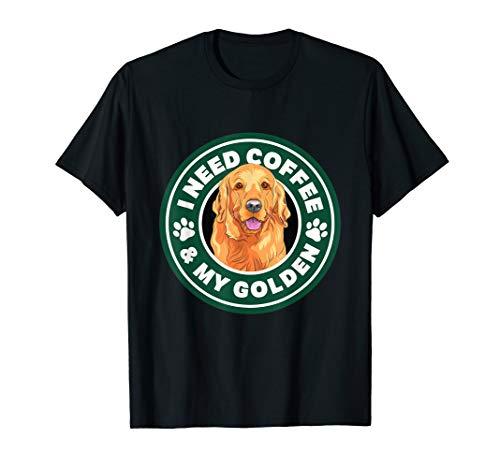 (Golden Retriever Coffee T-Shirt Art Quote Gift Shirt)