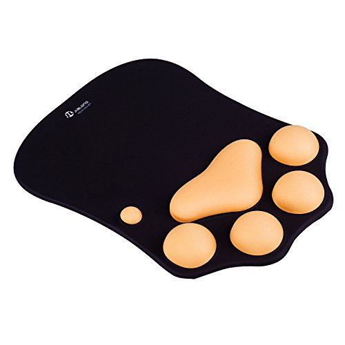 JIALONG Mouse Pad with Wrist Support Gel, Wrist Rest Ergonomic, Wrist Cushion, Black and Yellow