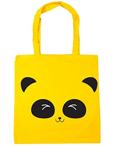 litres 10 Shopping panda face Bag Tote Yellow x38cm Gym HippoWarehouse Beach 42cm cute xPwvff