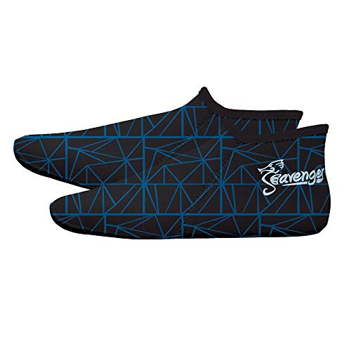 Seavenger Zephyr 3mm Neoprene Socks | Wetsuit Booties for Scuba Diving, Snorkeling, Swimming (Geometric Blue, Large)