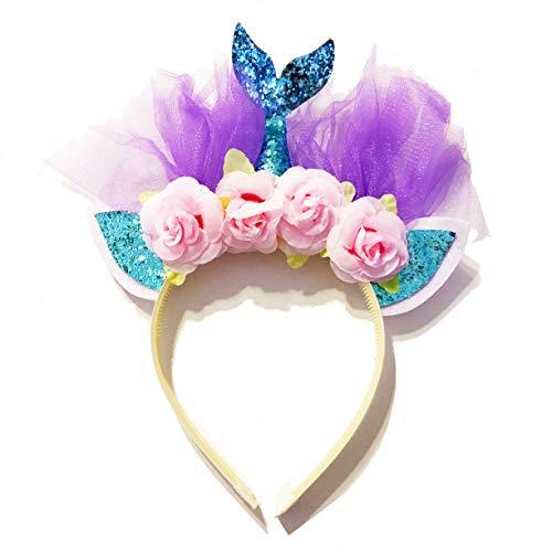 United Unicorns Mermaid Hairband Unicorn Cat Ears Girls Headband Tiara (Mermaid Blue Tail Pink Flowers)