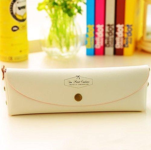 ANKKO Stilvoll PU Leder Multi-Funktions Kosmetiktasche Bleistift Tasche (Rosa) Weiß