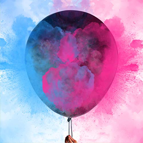 "(36"" Gender Reveal Powder Balloons - Come with 50g Pink, 50g Blue Powder and 3 jumbo highest quality latex black balloons 36 inch for Baby Shower Pregnancy Announcement Boy or)"
