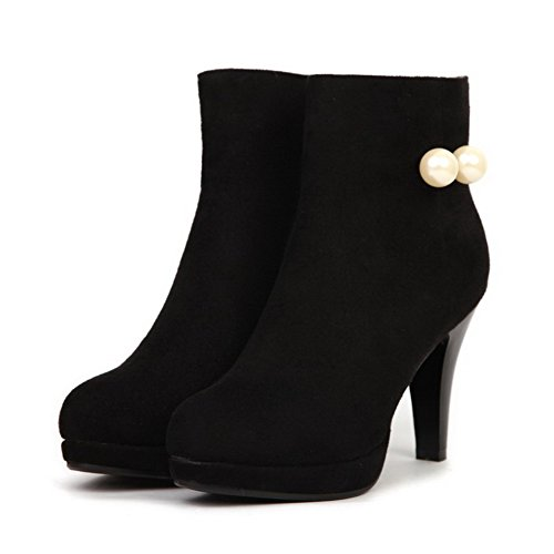 Women's Suede Frosted Platform and with Boots Heels Imitated High Black Thread Allhqfashion apqwxFF