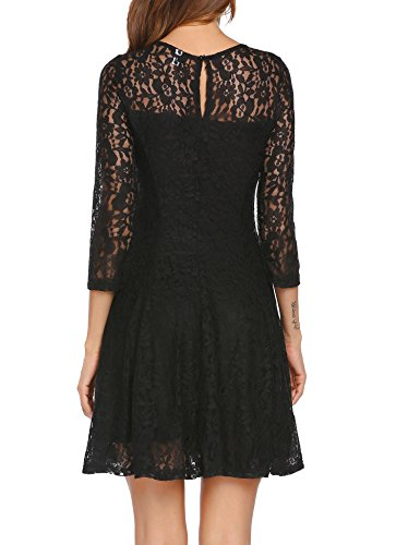 Cocktail Party Swing 4 Black Dress 3 Lace Dress Beyove Floral Mini Women Sleeve xtIqUUB