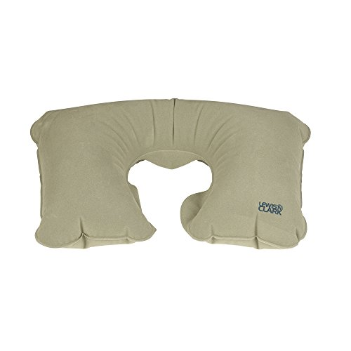 41W7SjZqxRL - Lewis N. Clark Original Neckrest Inflatable Pillow, Waterproof Neck Pillow for Neck Support at the Beach, Pool + Airport Travel with Fully Adjustable Firmness and Included Carrying Pouch, Grey