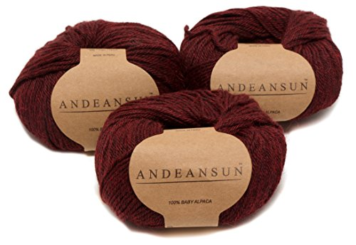 Acrylic Peruvian Hat - 100% Baby Alpaca Yarn (Weight #3) DK - Set of 3 - AndeanSun - Luxuriously Soft for Knitting, Crocheting - Great for Baby Garments, Scarves, Hats, and Craft Projects - (Burgundy)