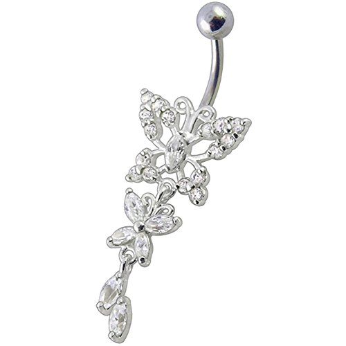 Clear CZ Stone Butterfly with Leaf Dangling Design 925 Sterling Silver Belly Button Piercing Ring Jewelry