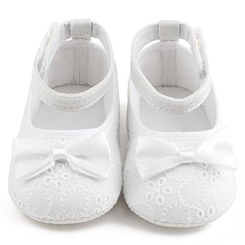 Delebao Baby Girl Infant Satin Mary Jane Baptism Shoes Dance Ballerina Slippers (12-18 Months, White) (Ballerina Kids White Slippers)