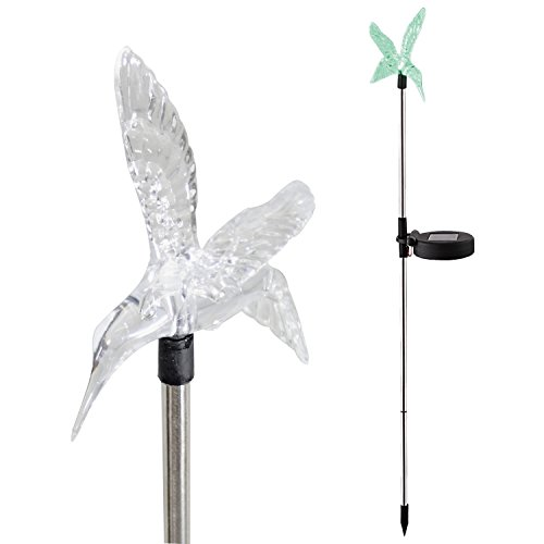 Candle Choice Color Changing Solar Garden Stake Light with Vivid Figurine - Hummingbird, LED Garden Light, Landscape Light, In-ground light Outdoor Light for Garden Decoration and Flower Beds - Hummingbird Stake Light