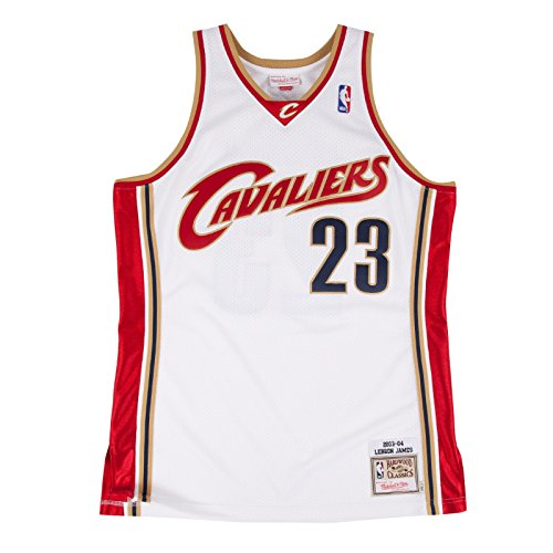 Mitchell & Ness LeBron James Cleveland Cavaliers #23 NBA Men's 2003-2004 Authentic Mesh White Jersey (X-Large/48) ()