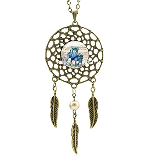 Pretty Lee Blue Elephant Necklace Blue Elephant Jewelry Animal Dreamcatcher Feather Necklace Art Photo Glass Cabochon Necklace