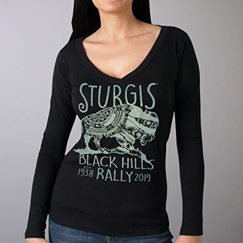 BLACK Extra Large Official 2019 Sturgis Motorcycle Rally Ladies Buffalo Symbol Black Long Sleeve