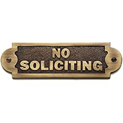 """Naiture Solid Brass """"No Soliciting"""" Sign In Antique Brass Finish"""