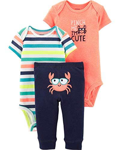 Carter's Baby Boys' 3-Piece Neon Crab Little Character Set - Orange (6 Months) (Carters 3 Piece Boys)