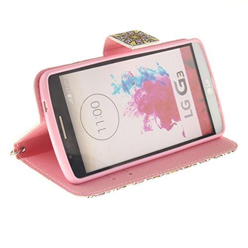 Funda del LG G3,cáscara de cuero del LG G3 de MAGQI,cubierta de cuero de la PU del tirón de la alta calidad con vistoso mandala serie dibujos animados diseño [Función stand] [Ranuras para Tarjetas y B Mandala colorida