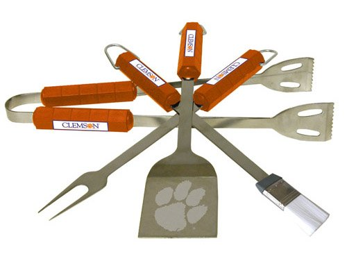 BSI Products Home Garden Patio Lawn Outdoor Kitchen Grills Accessories Clemson Tigers NCAA Sports Team Logo 4 Pc Bbq Set
