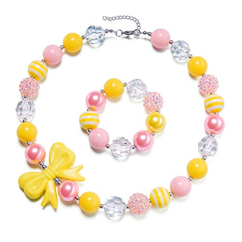 vcmart Girls Chunky Necklace and Bracelet Set Bubblegum Gumball Beads Kids Baby Birthdays Gift Bow Pendant