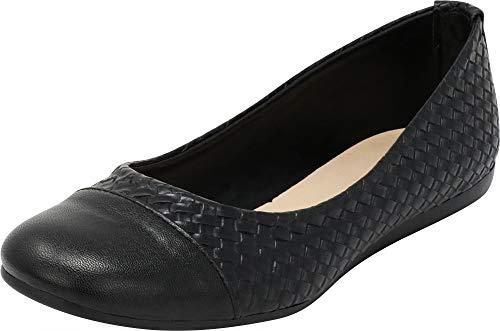 Cambridge Select Women's Closed Round Cap Toe Woven Comfort Ballet Flat (10 B(M) US, Black PU) by Cambridge Select
